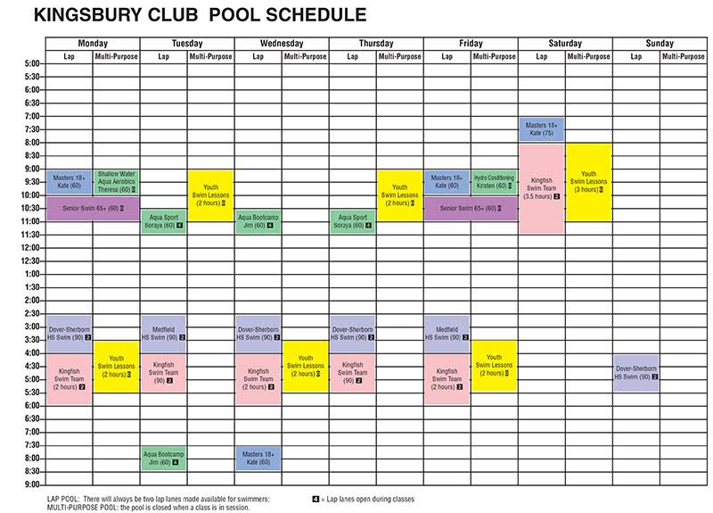 Jr high school for Kingsbury swimming pool timetable