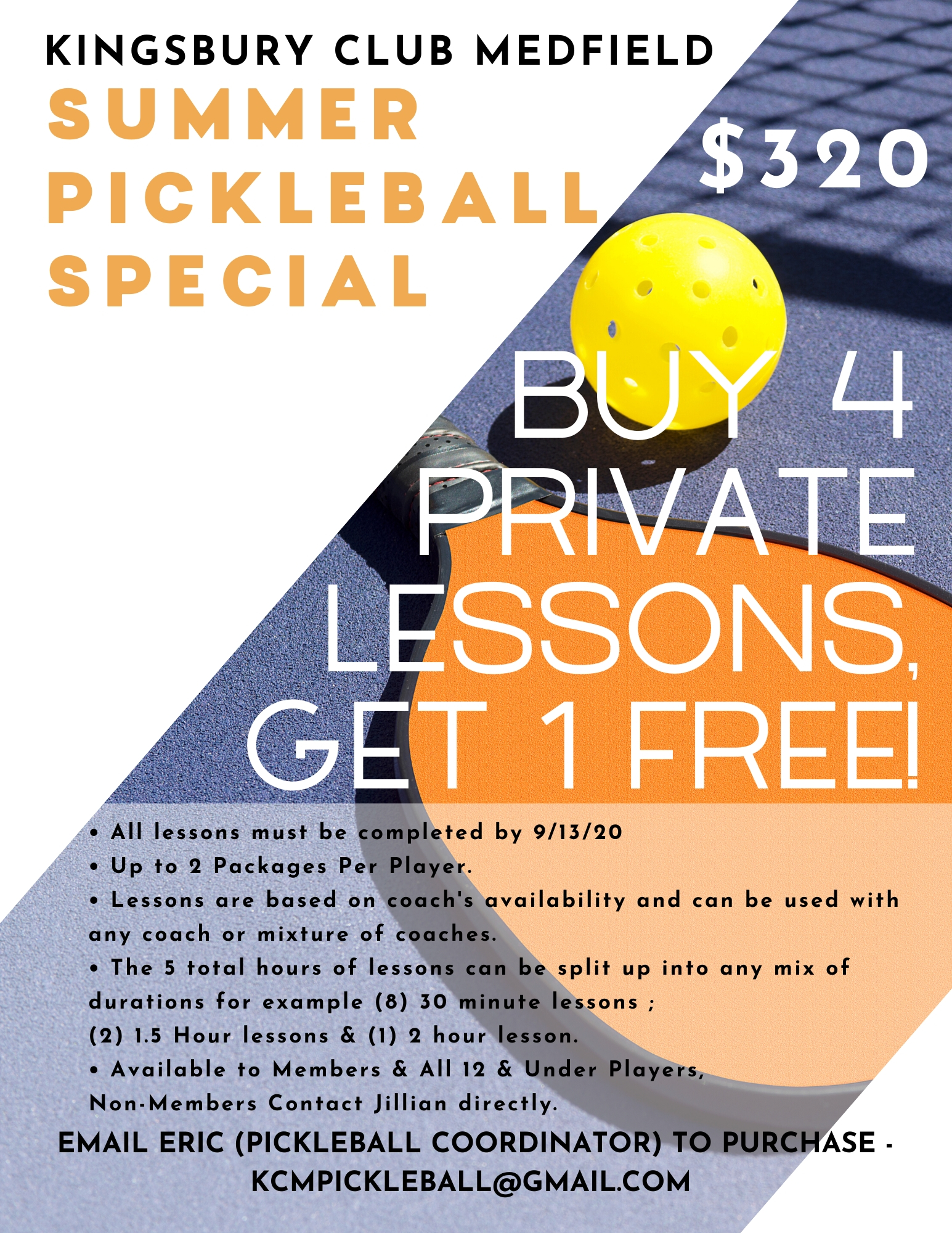 Summer Pickleball Lesson Special 2020
